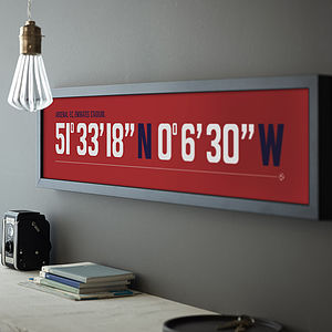 Football Ground Coordinates Print - for sports fans