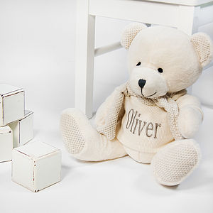 Personalised Ivory Teddy Bear – Large - for under 5's