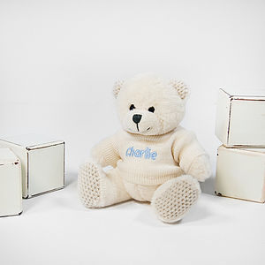 Personalised Ivory Teddy Bear Small - soft toys & dolls