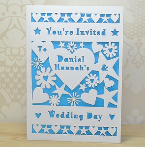 Flower And Heart Laser Cut Wedding Invitation - invitations