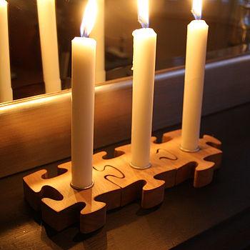 Three Piece Jigsaw Candle Holder