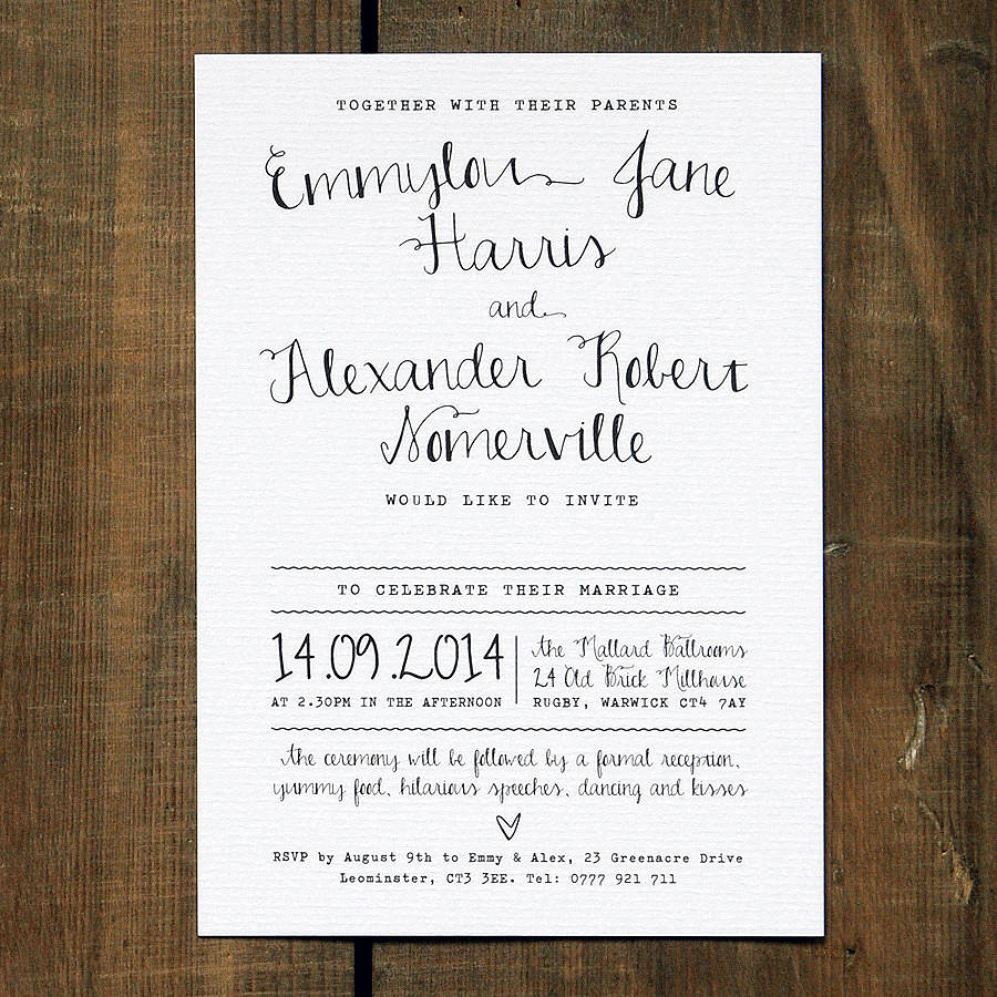 Calligraphy Wedding Invitation Black On White