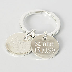 Engraved Silver Circle Keyring