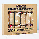 Recycled Snowflakes Brown Christmas Crackers - christmas decorations