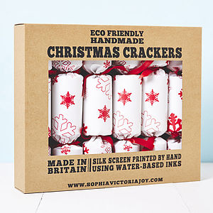 Recycled Snowflakes White Christmas Crackers - weddings sale
