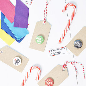 Christmas Badge Gift Tags - ribbon & wrap