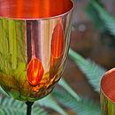 Three Pure Copper Tulip Tealight Holders/Birdfeeders