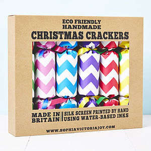 Recycled Chevron Christmas Crackers - crackers