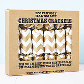 Gold Chevron White Christmas Crackers - christmas decorations