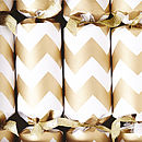 Gold Chevron White Christmas Crackers