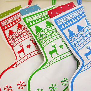 Three Christmas Tree And Reindeer Stockings
