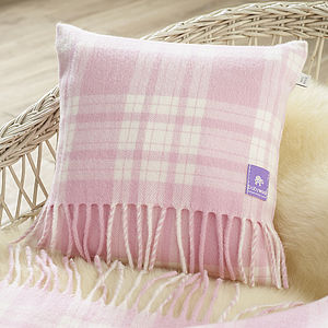 Check Design Lambswool Baby Cushion