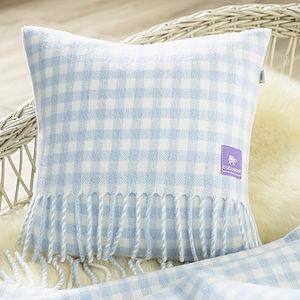 Gingham Design Wool Baby Cushion