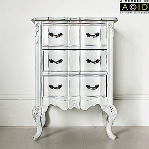 Ripple Bedside Table With Three Drawers - bedroom