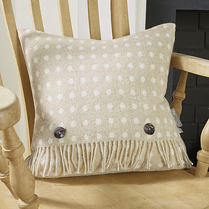 Beige Spot Wool Cushion