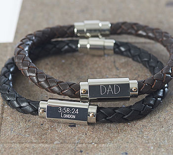 Personalised Chunky Leather Identity Bracelet