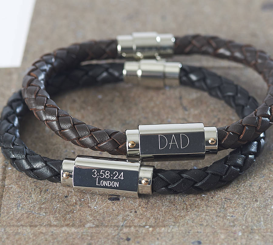 Personalised Leather Men S Ideny Bracelet