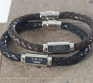 Personalised Chunky Leather Identity Bracelet - gifts under £50 for him