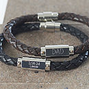 Personalised leather men's identity bracelet