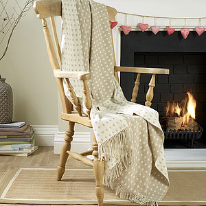 Natural Spot Lambswool Throw - blankets & throws