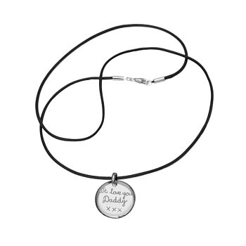 Personalised Dad's Silver Disc Necklace