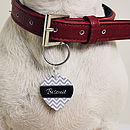 Personalised Pet Name ID Tag Heart Chevron