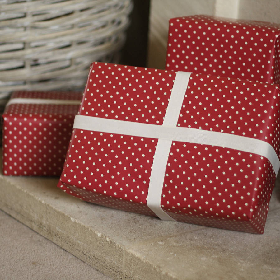 red polka dot wrapping paper