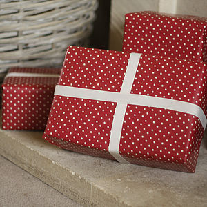 Red Polka Dot Wrapping Paper Sold As A Roll - wrapping