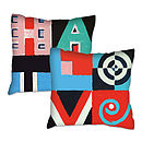 Love And Hate Word Art Print Cushion Cover