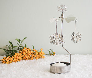 Rotary Tea Light Spinning 'Snowflake' - candles & candlesticks