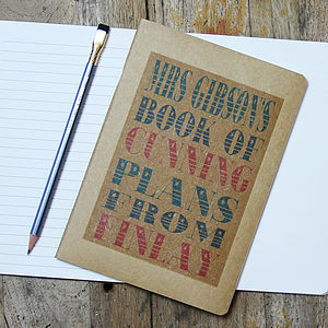 Personalised Teacher's Notebook - gifts for teachers