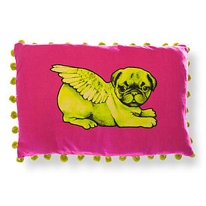 Biddy Pug Rectangular Pompom Cushion Cover - cushions
