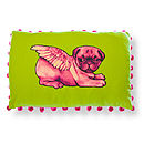Biddy Pug Rectangular Pompom Cushion Cover