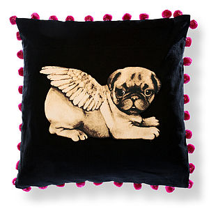 Biddy Pug Cushion Cover Square Pompoms - decorative accessories