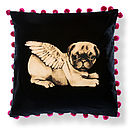 Biddy Pug Cushion Cover Square Pompoms