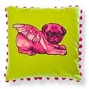 Biddy Pug Cushion Cover Square Pompoms