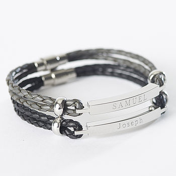 Personalised Leather Identity Bracelet