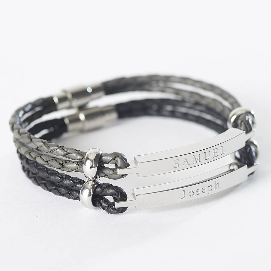engraved stainless plate engravable plated eve s steel men mens bracelet black id
