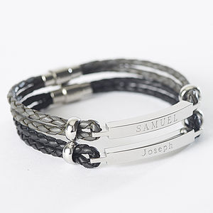 Mens Personalised Leather Identity Bracelet