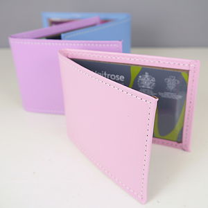 Leather Card Holder In Pastel Colours - bags & purses