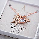 Rose Gold with Crystal Blue Shade large gemstone charm on 'I designed this star necklace card'