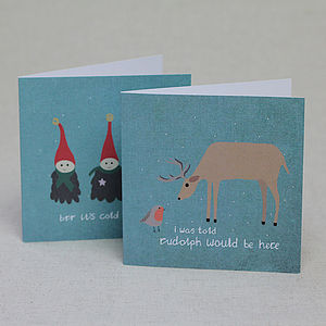 Set Of Six Deer And Elves Christmas Cards - seasonal cards