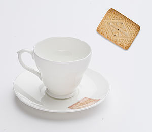Custard Cream Biscuit Tea Cup And Saucer
