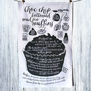 'Choc Chip Bottomed Muffins' Tea Towel - kitchen accessories
