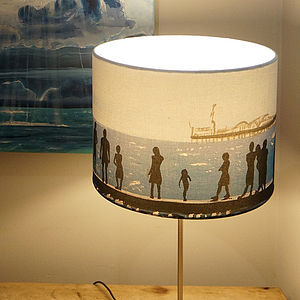 Seaside Print Drum Lampshade