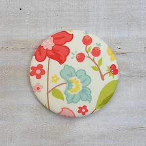 Bright Flowers Fabric Compact Mirror