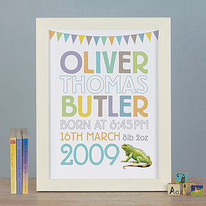 Personalised Animal Pastel Birth Print