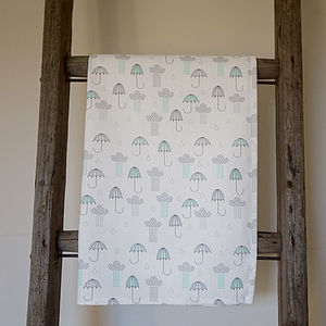 Umbrellas And Rain Clouds Tea Towel - kitchen accessories