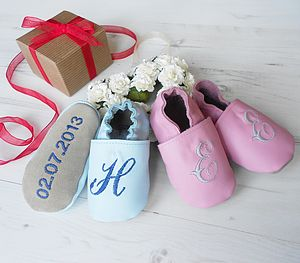 Personalised Initial Baby Shoes - personalised birthday gifts