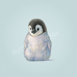 Illustrated Penguin Print - children's pictures & paintings